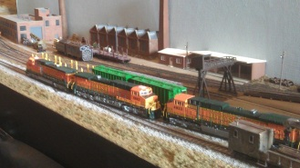 BNSF power passing the workshops