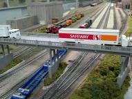 Empty intermodals under the overpass