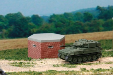 Pillbox in brick & Scimitar Tank